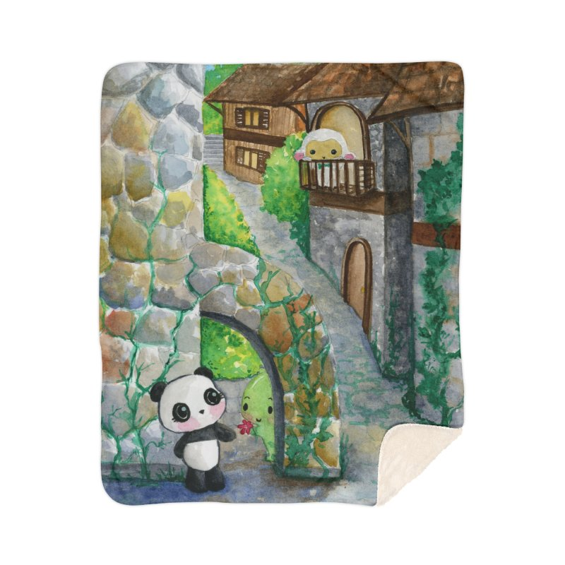 Dino and Panda's Secret Date Home Sherpa Blanket Blanket by Dino & Panda Inc Artist Shop