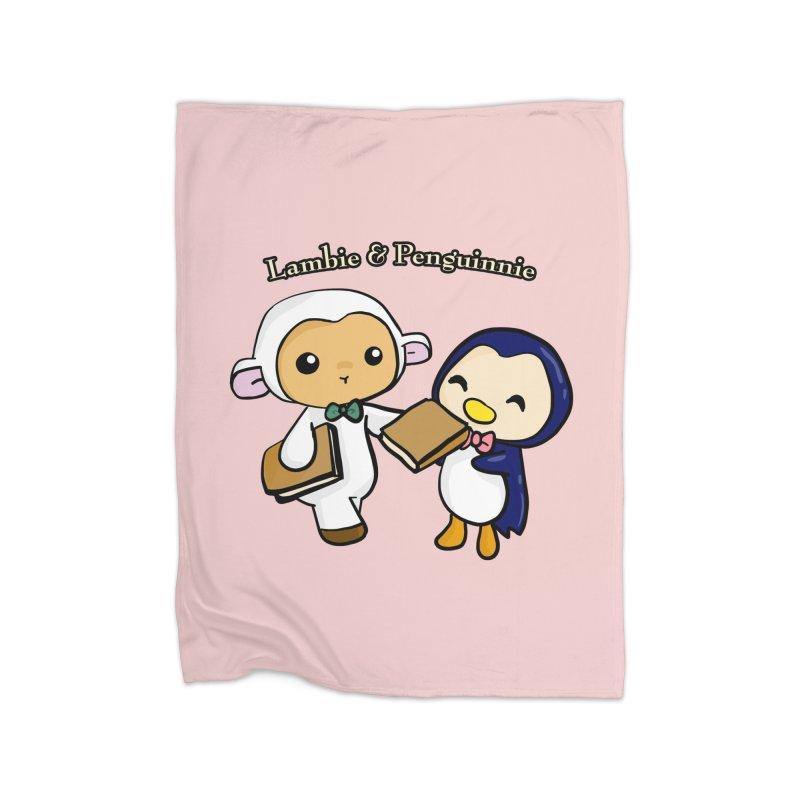 Lambie & Penguinnie Home Fleece Blanket Blanket by Dino & Panda Inc Artist Shop