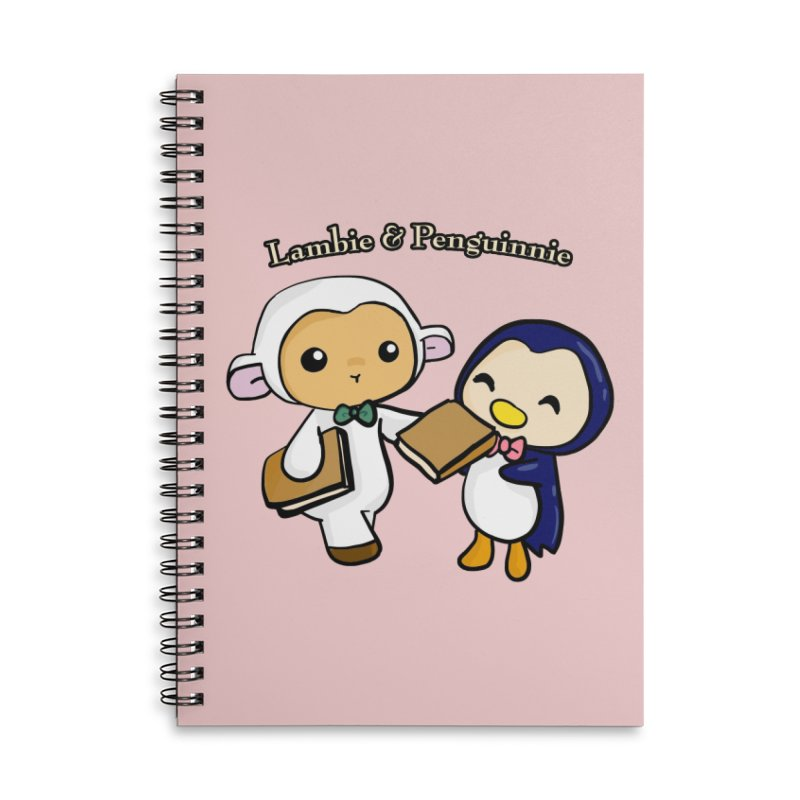 Lambie & Penguinnie Accessories Lined Spiral Notebook by Dino & Panda Inc Artist Shop