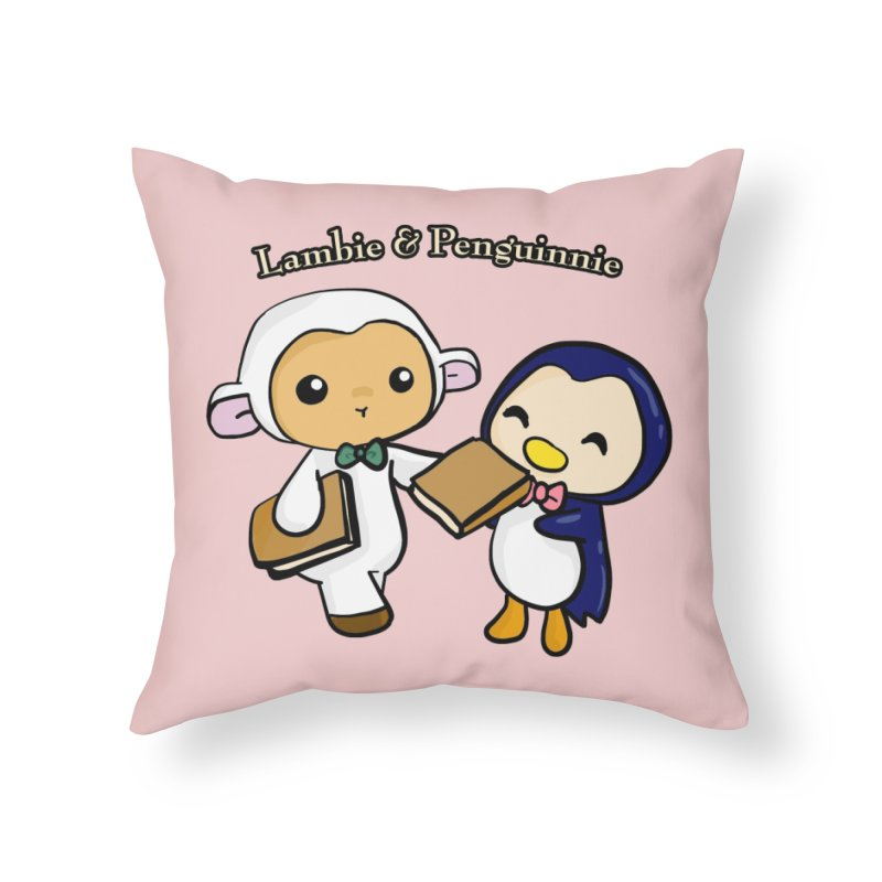 Lambie & Penguinnie Home Throw Pillow by Dino & Panda Inc Artist Shop