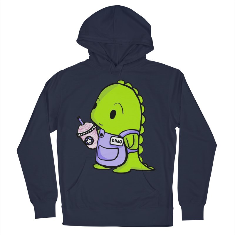 Barista Dino Men's French Terry Pullover Hoody by Dino & Panda Inc Artist Shop
