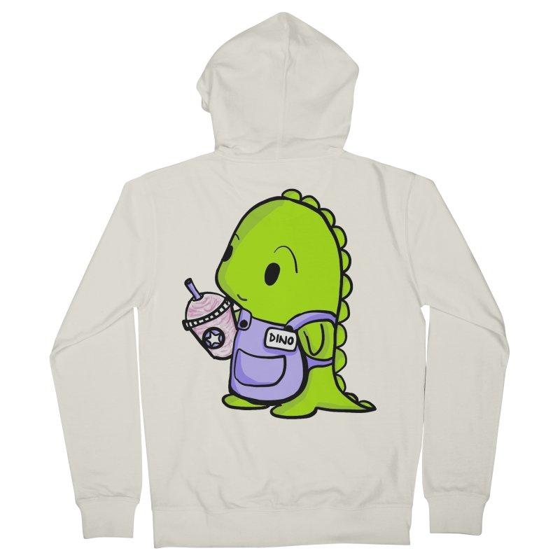 Barista Dino Men's French Terry Zip-Up Hoody by Dino & Panda Inc Artist Shop