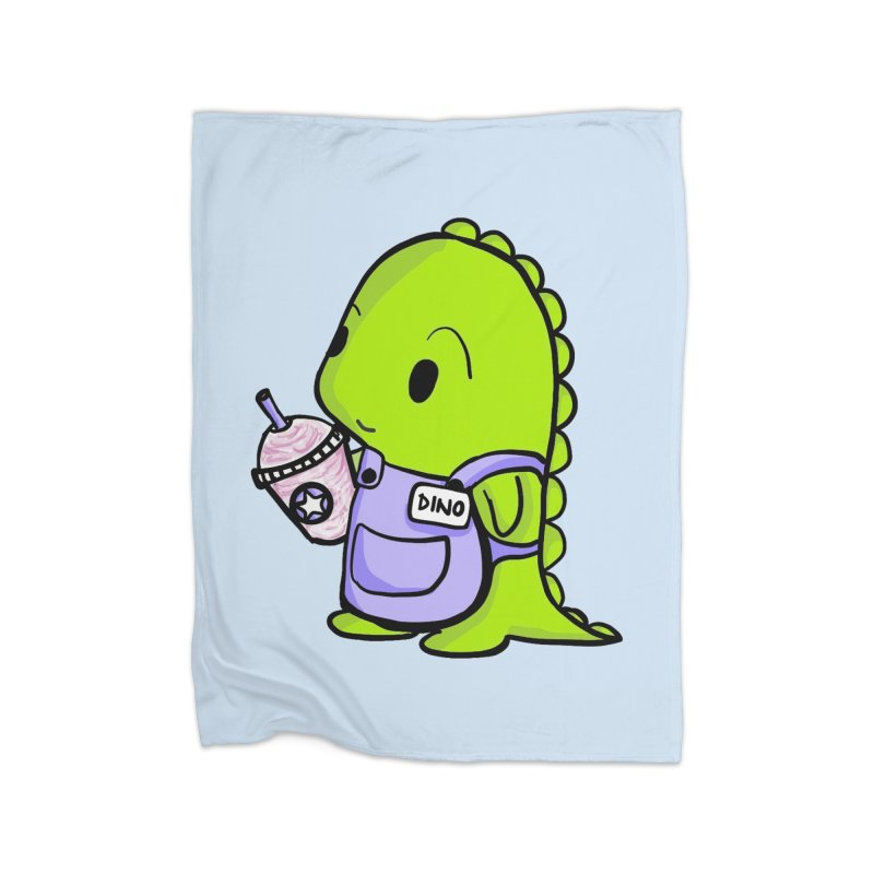 Barista Dino Home Fleece Blanket Blanket by Dino & Panda Inc Artist Shop