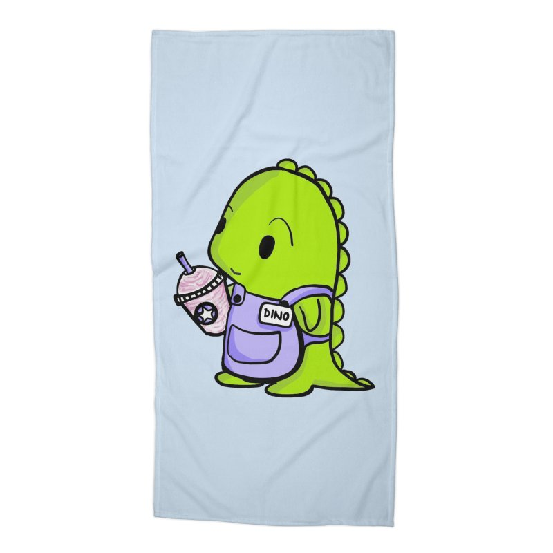 Barista Dino Accessories Beach Towel by Dino & Panda Inc Artist Shop