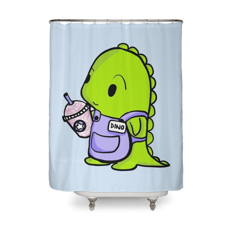 Barista Dino Home Shower Curtain by Dino & Panda Inc Artist Shop