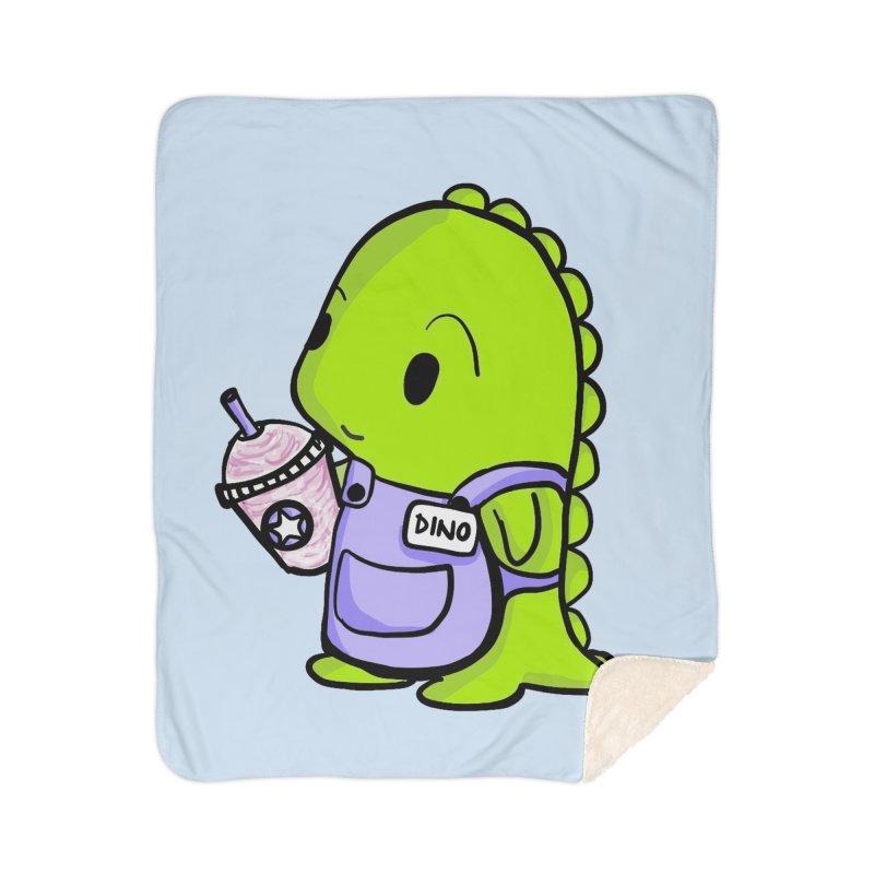 Barista Dino Home Sherpa Blanket Blanket by Dino & Panda Inc Artist Shop