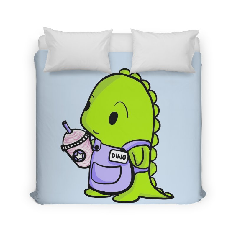 Barista Dino Home Duvet by Dino & Panda Inc Artist Shop