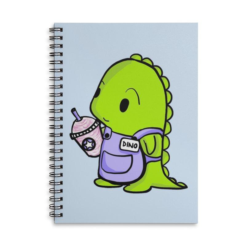 Barista Dino Accessories Lined Spiral Notebook by Dino & Panda Inc Artist Shop