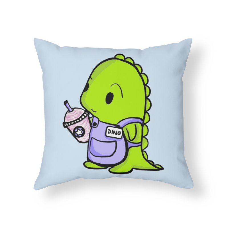 Barista Dino Home Throw Pillow by Dino & Panda Inc Artist Shop