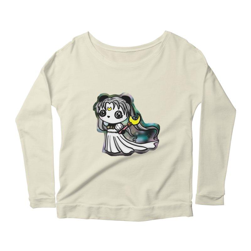 Princess Panda Serenity Women's Longsleeve Scoopneck  by Dino & Panda Inc Artist Shop