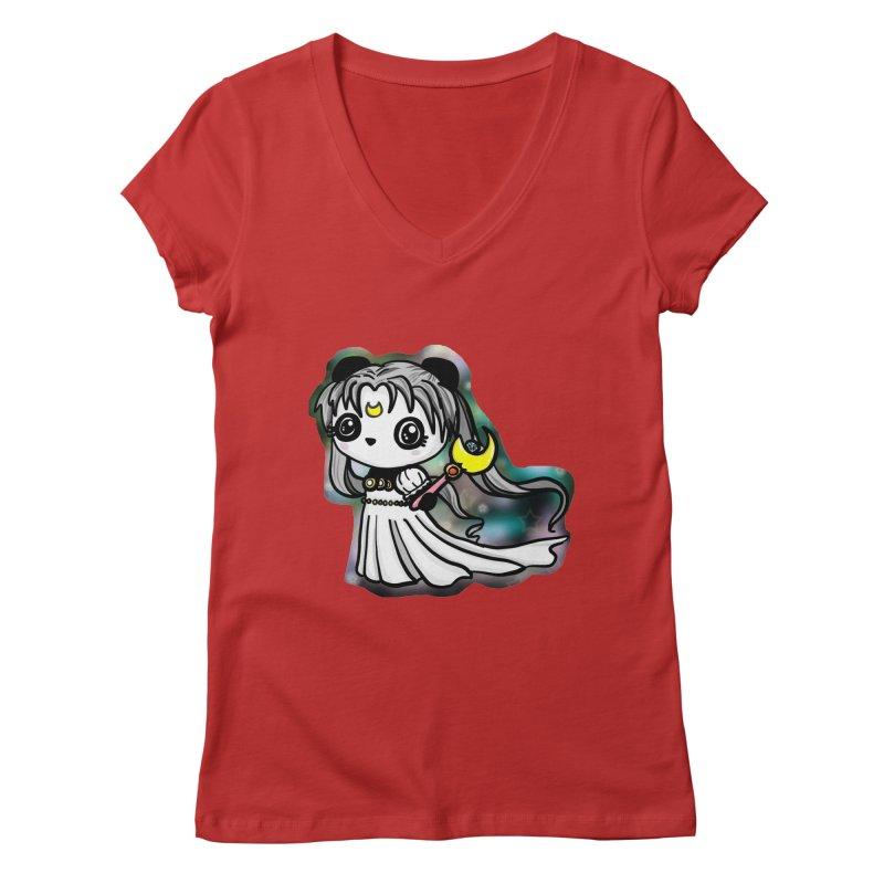 Princess Panda Serenity Women's V-Neck by Dino & Panda Inc Artist Shop
