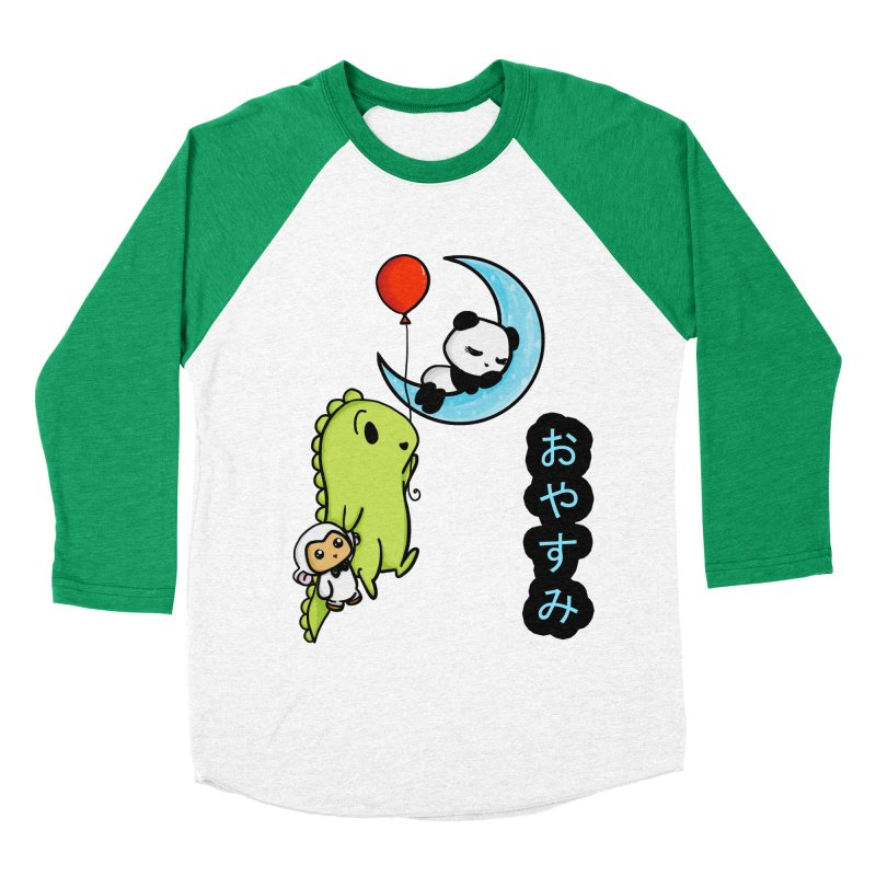 Sleepy Panda- Oyasumi Women's Baseball Triblend Longsleeve T-Shirt by Dino & Panda Inc Artist Shop