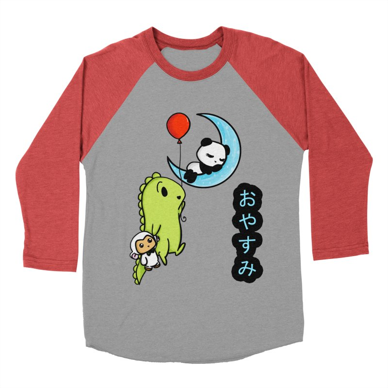 Sleepy Panda- Oyasumi Men's Baseball Triblend T-Shirt by Dino & Panda Inc Artist Shop