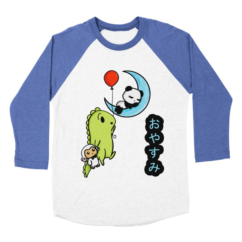 Sleepy Panda- Oyasumi Men's Baseball Triblend Longsleeve T-Shirt by Dino & Panda Inc Artist Shop
