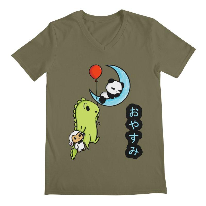 Sleepy Panda- Oyasumi Men's Regular V-Neck by Dino & Panda Inc Artist Shop
