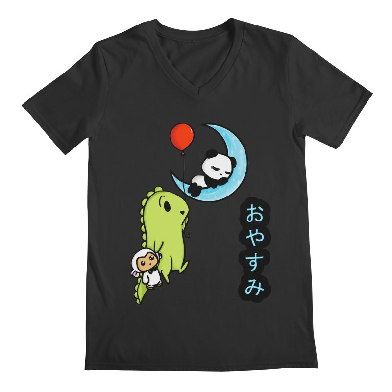 Sleepy Panda- Oyasumi Men's V-Neck by Dino & Panda Inc Artist Shop