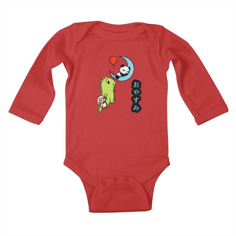 Sleepy Panda- Oyasumi Kids Baby Longsleeve Bodysuit by Dino & Panda Inc Artist Shop