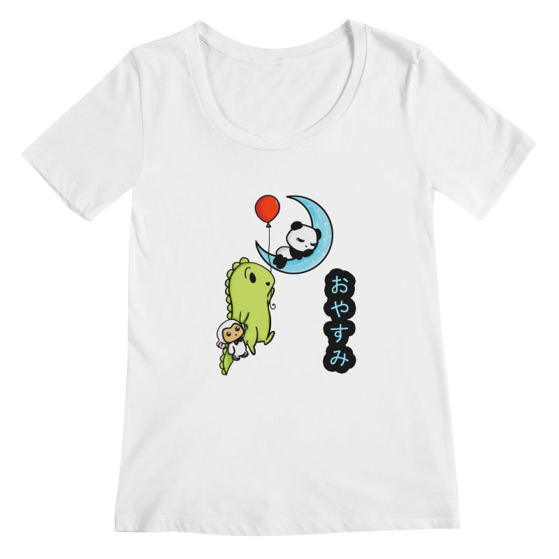 Sleepy Panda- Oyasumi Women's Scoopneck by Dino & Panda Inc Artist Shop