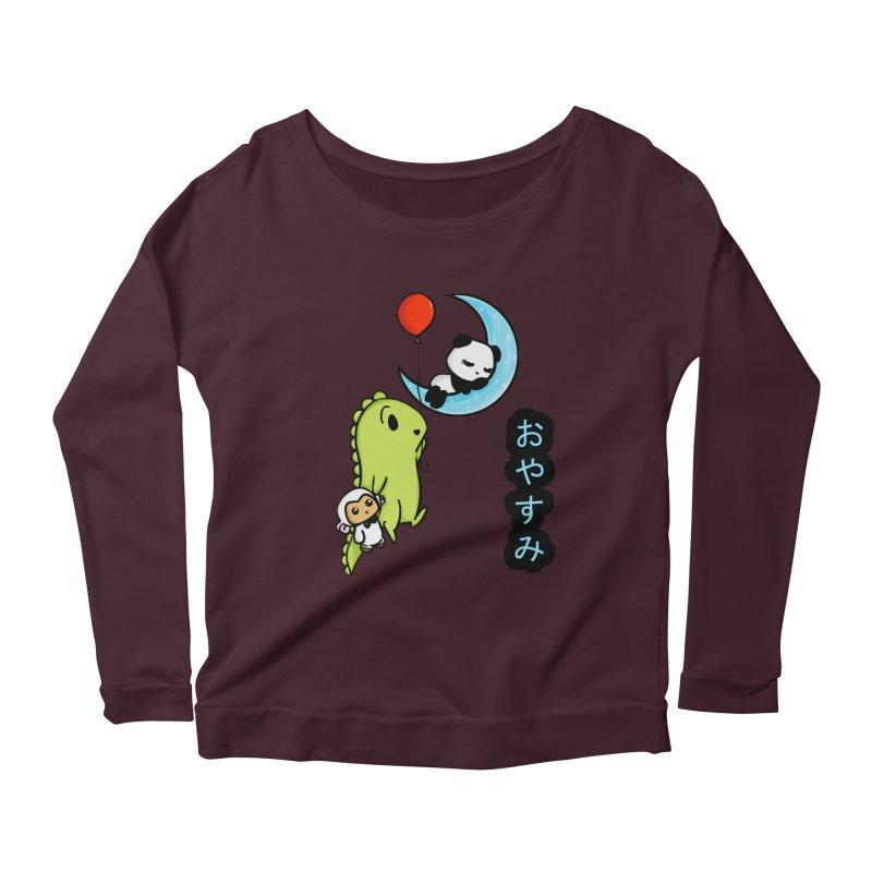 Sleepy Panda- Oyasumi Women's Scoop Neck Longsleeve T-Shirt by Dino & Panda Inc Artist Shop