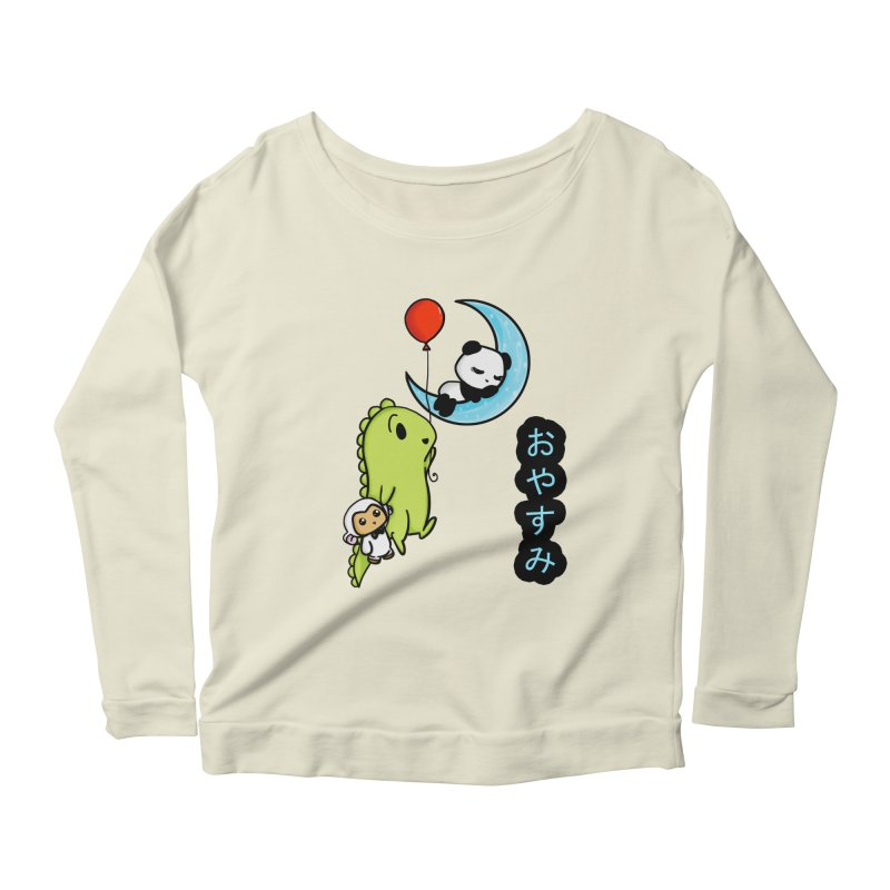 Sleepy Panda- Oyasumi Women's Longsleeve Scoopneck  by Dino & Panda Inc Artist Shop