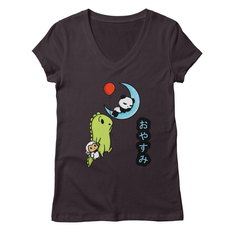 Sleepy Panda- Oyasumi Women's Regular V-Neck by Dino & Panda Inc Artist Shop