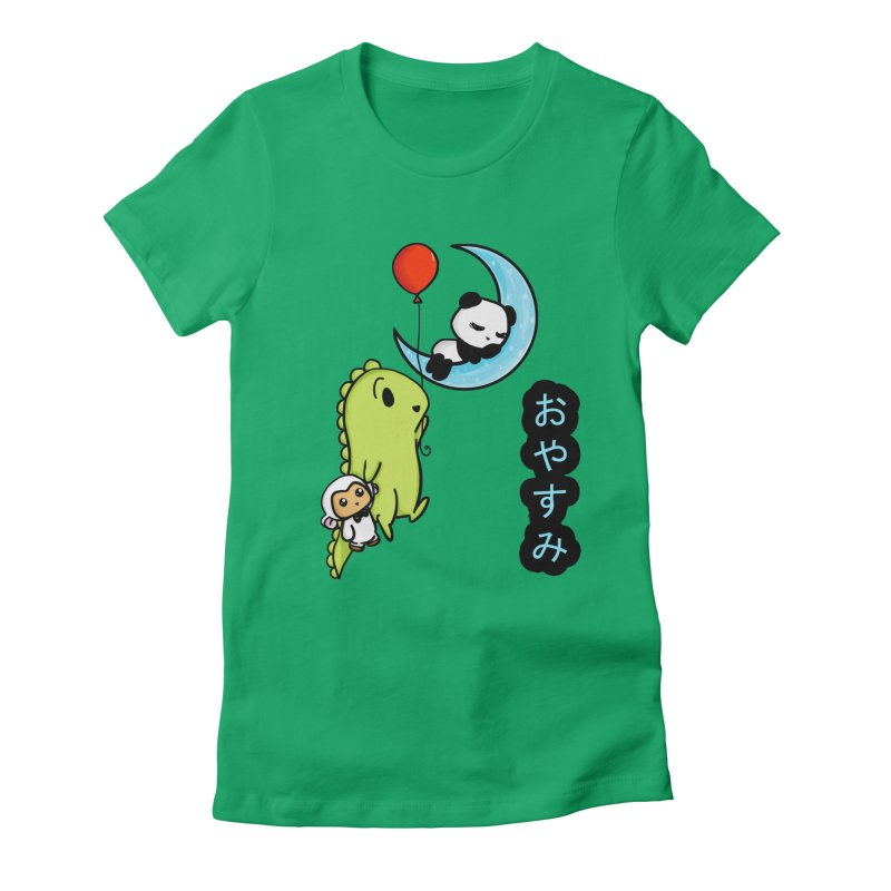 Sleepy Panda- Oyasumi Women's Fitted T-Shirt by Dino & Panda Inc Artist Shop
