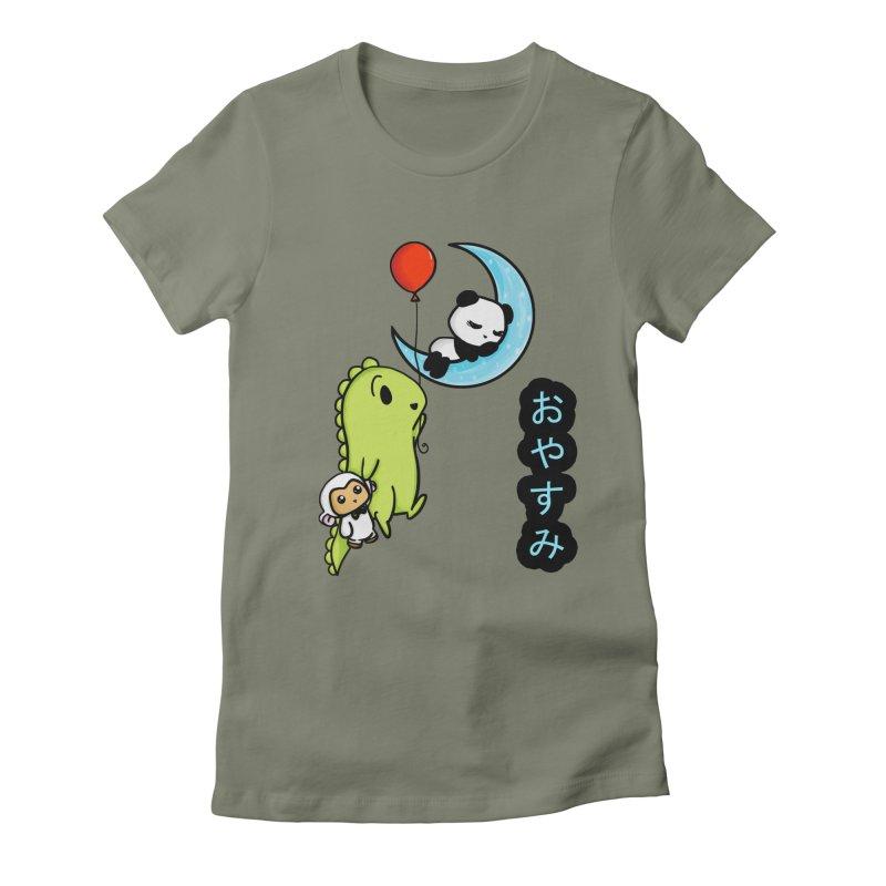 Sleepy Panda- Oyasumi Women's Fitted T-Shirt by Dino & Panda Inc Artist Shop