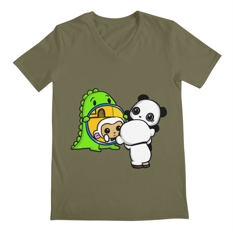 Mirror Mirror Men's Regular V-Neck by Dino & Panda Inc Artist Shop
