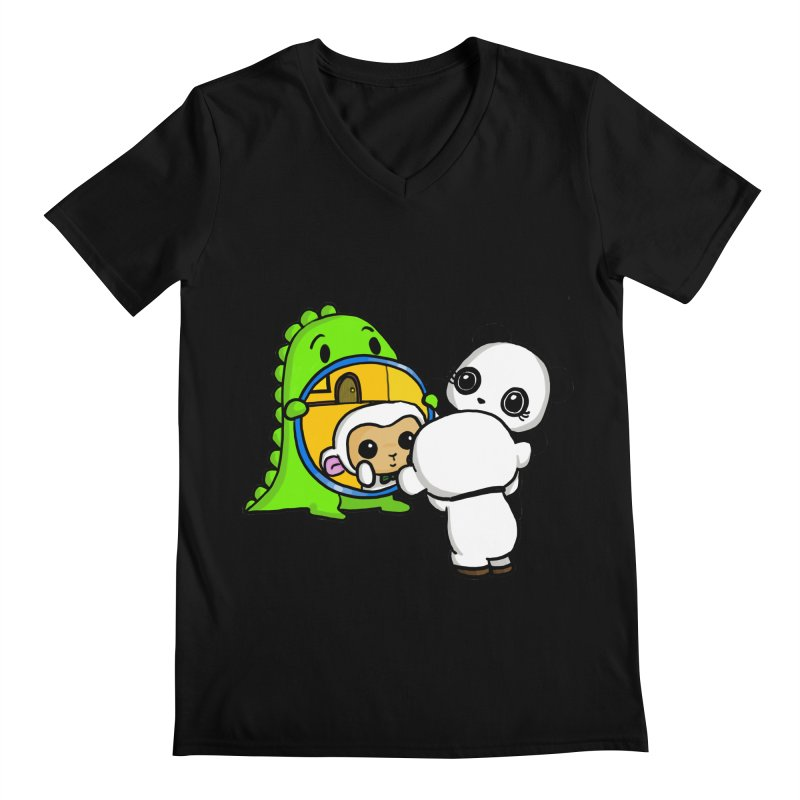 Mirror Mirror Men's V-Neck by Dino & Panda Inc Artist Shop
