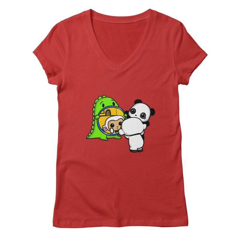 Mirror Mirror Women's V-Neck by Dino & Panda Inc Artist Shop