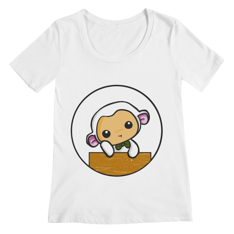 Lambie Thinking Women's Regular Scoop Neck by Dino & Panda Inc Artist Shop