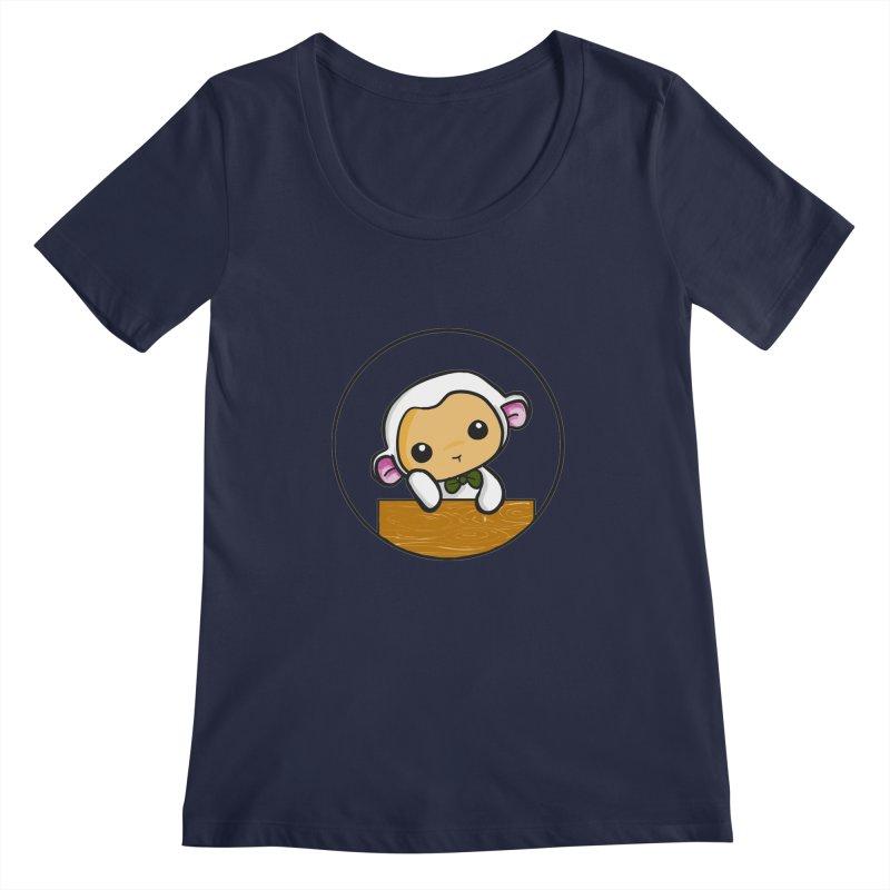 Lambie Thinking Women's Regular Scoop Neck by Dino & Panda Inc Artist Shop
