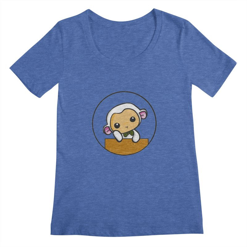 Lambie Thinking Women's Scoopneck by Dino & Panda Inc Artist Shop