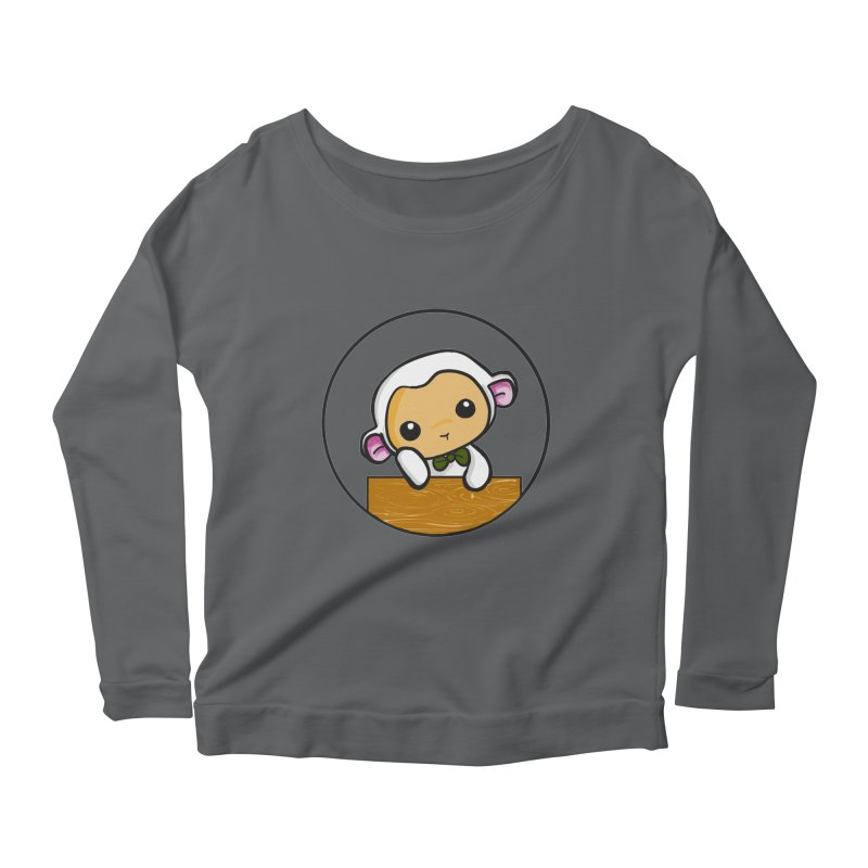 Lambie Thinking Women's Longsleeve Scoopneck  by Dino & Panda Inc Artist Shop