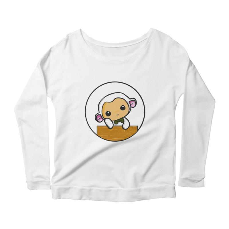 Lambie Thinking Women's Longsleeve Scoopneck  by Dino & Panda Inc Artist Shop