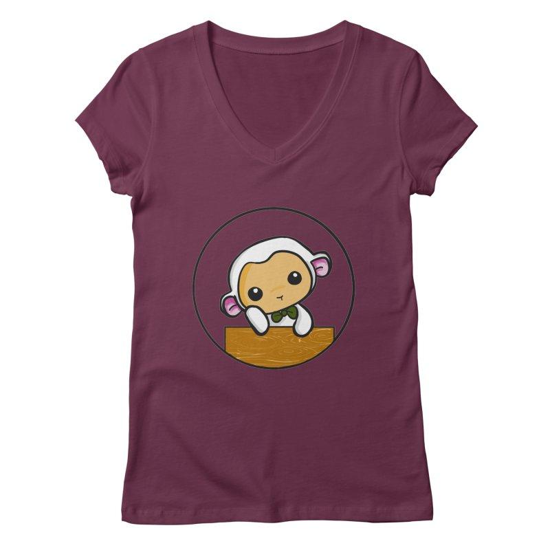 Lambie Thinking Women's Regular V-Neck by Dino & Panda Inc Artist Shop