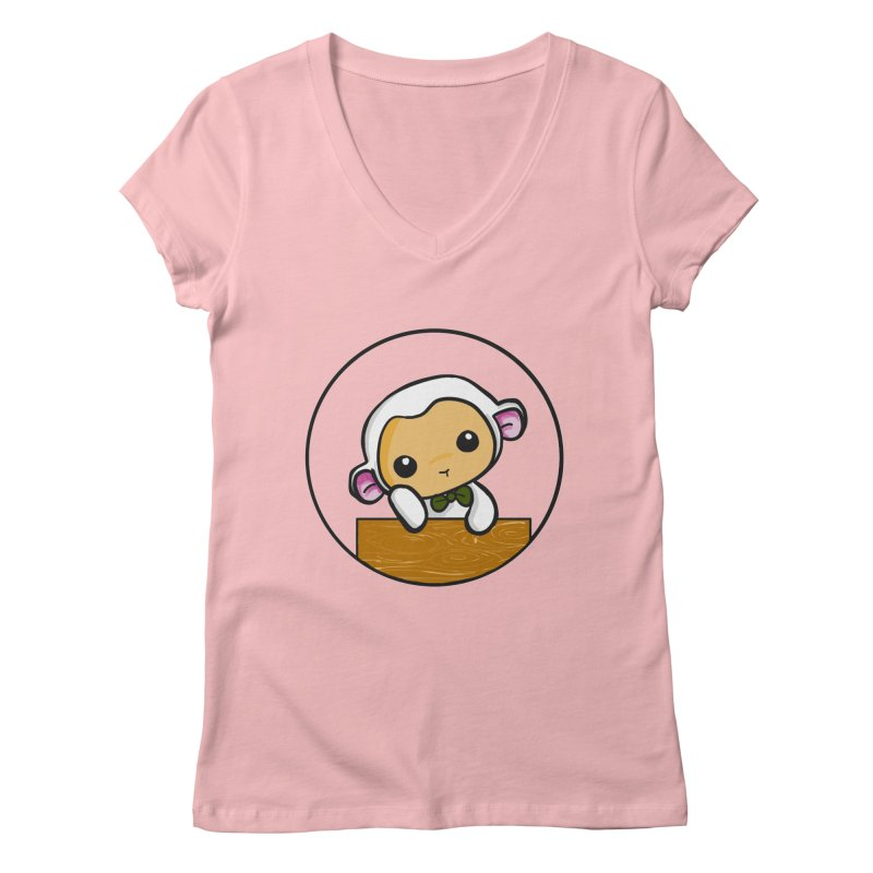 Lambie Thinking Women's V-Neck by Dino & Panda Inc Artist Shop