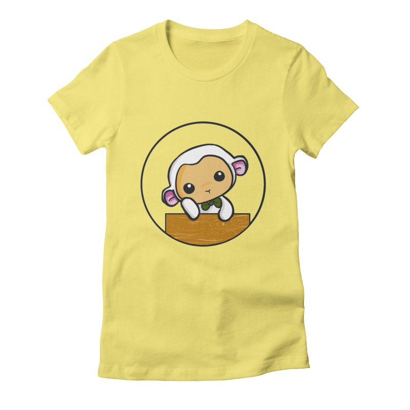 Lambie Thinking Women's Fitted T-Shirt by Dino & Panda Inc Artist Shop