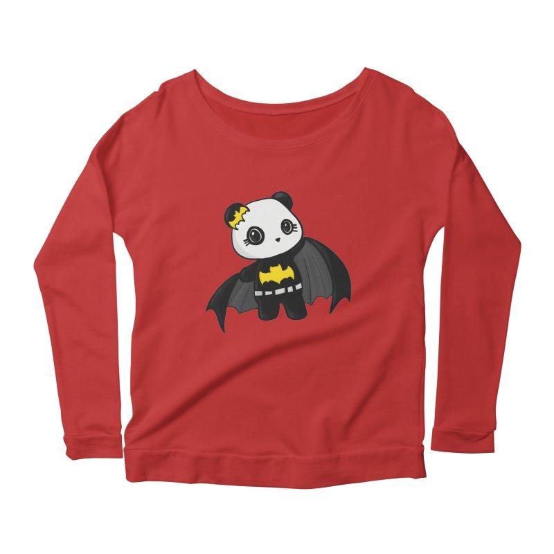 Batpanda Women's Longsleeve Scoopneck  by Dino & Panda Inc Artist Shop
