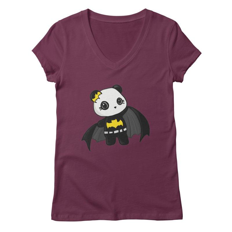 Batpanda Women's Regular V-Neck by Dino & Panda Inc Artist Shop