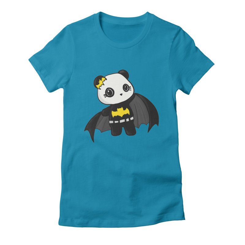 Batpanda Women's Fitted T-Shirt by Dino & Panda Inc Artist Shop