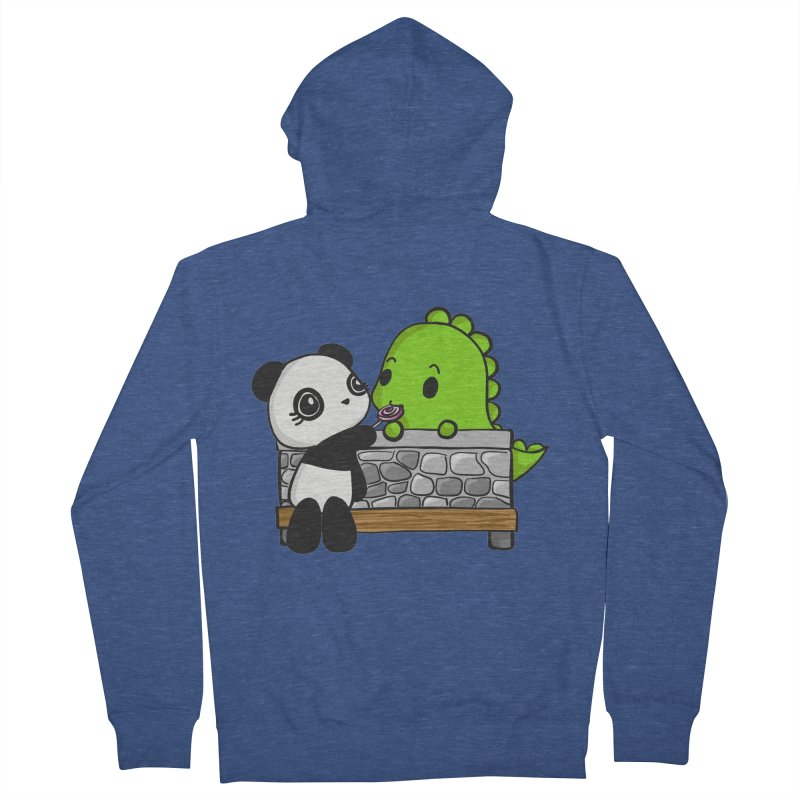 Sharing is Caring Men's French Terry Zip-Up Hoody by Dino & Panda Inc Artist Shop