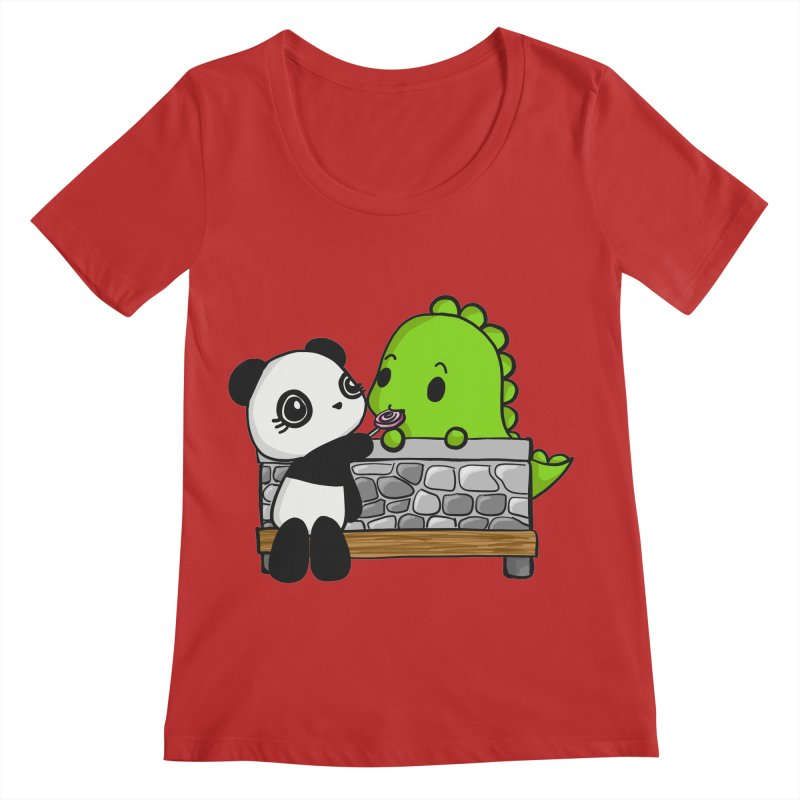 Sharing is Caring Women's Regular Scoop Neck by Dino & Panda Inc Artist Shop