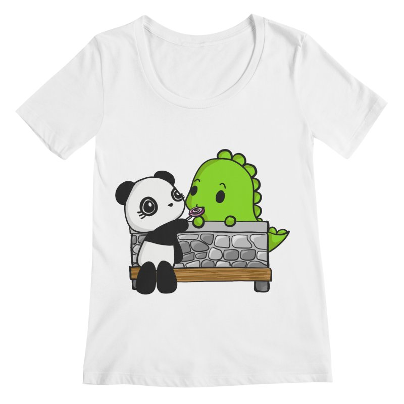 Sharing is Caring Women's Scoop Neck by Dino & Panda Inc Artist Shop