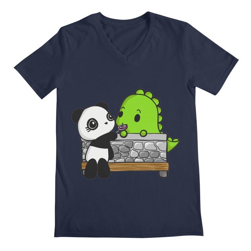 Sharing is Caring Men's Regular V-Neck by Dino & Panda Inc Artist Shop