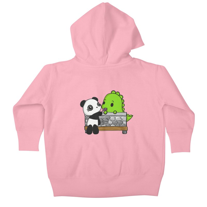 Sharing is Caring Kids Baby Zip-Up Hoody by Dino & Panda Inc Artist Shop