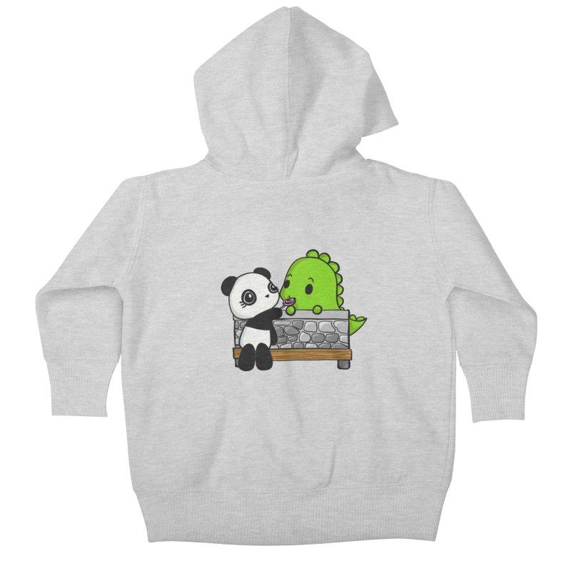 Sharing is Caring Kids Baby Zip-Up Hoody by Dino & Panda Inc Artist Shop