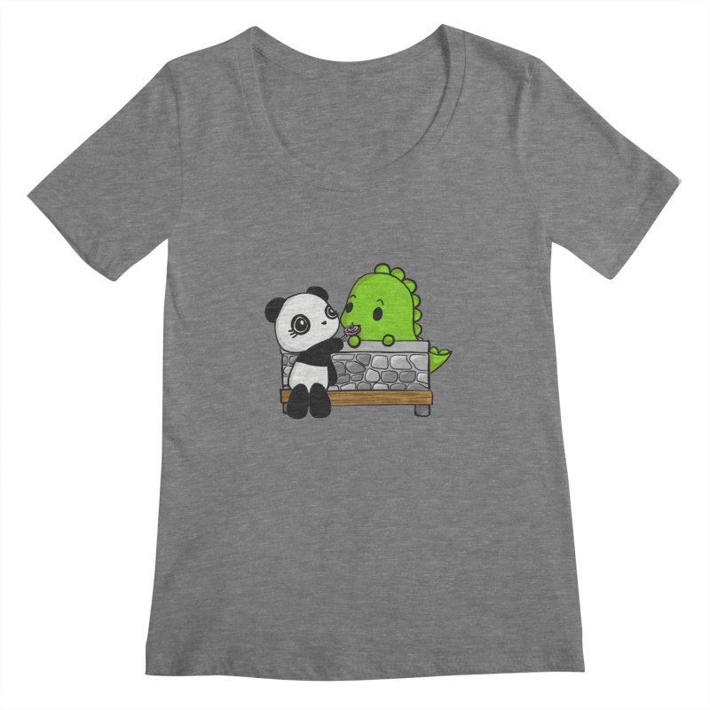 Sharing is Caring Women's Scoopneck by Dino & Panda Inc Artist Shop