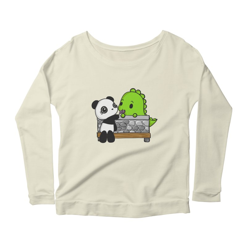Sharing is Caring Women's Scoop Neck Longsleeve T-Shirt by Dino & Panda Inc Artist Shop