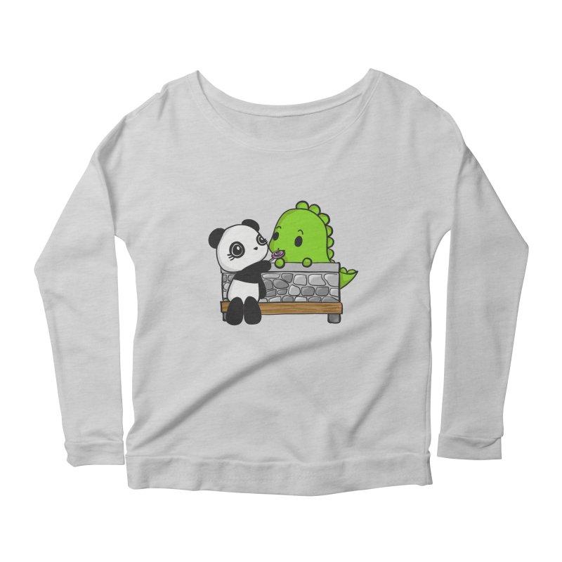 Sharing is Caring Women's Longsleeve Scoopneck  by Dino & Panda Inc Artist Shop
